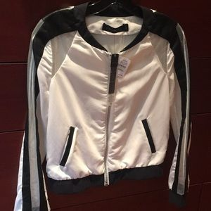 White and Black leather insert jacket